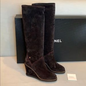 CHANEL Black Suede Wedge Boot w/ Gold Chain detail